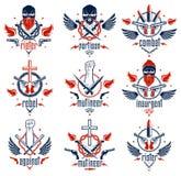 Anarchia ed emblema aggressivo o logo di caos con il forte pugno chiuso, cranio aggressivo, pallottole e pistole, armi e differen illustrazione di stock