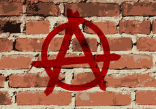 Anarchia znak na ściana z cegieł teksturze, Fotografia Stock