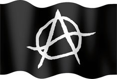 Anarchistic undulating flag Stock Photos