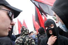 Anarchists demonstrations in Moscow. Royalty Free Stock Image