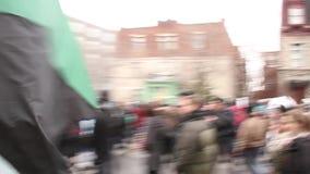 Anarcho-Panda geht und protestiert in der großen Menge stock video