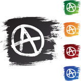 Anarchy. A set of 5 buttons representing anarchy stock illustration