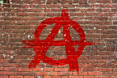 Anarchy. Symbol painted on a brick wall Stock Photography