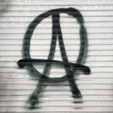 Anarchy. Anarchist sign on a shutter in Berlin Stock Photo