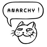 Anarchy! Cartoon Cat Head. Speech Bubble. Vector Illustration. Royalty Free Stock Photography