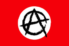 Anarchy flag. Vector illustration of red flag with black anarchy symbol in white circle Vector Illustration