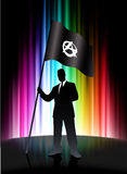 Anarchy Flag with Businessman on Abstract Spectrum Background Stock Photo