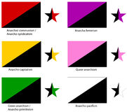 Anarchy flags set. A set of the official flags/start symbol of the major schools of anarchism in human history (Anarchist communism, anarcho-capitalism, green Stock Photography
