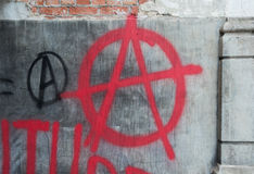 Anarchy Graffiti. Red Spray Paint Anti-Government Anarchy Graffiti Royalty Free Stock Image