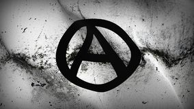 Anarchy Logo Symbol grunge dirty flag waving on wind. Anarchy Logo Symbol background fullscreen grease flag blowing on wind. Realistic filth fabric texture on Royalty Free Stock Photos