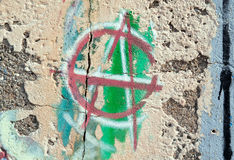 A for Anarchy. Painted on a damaged wall Royalty Free Stock Images