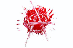 Anarchy sign carved in paint. Anarchy sign carved in red paint Stock Images
