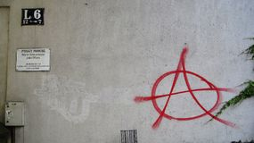 Anarchy sign. Red anarchy sign on the wall in Germany Royalty Free Stock Photo