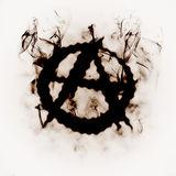 Anarchy sign in the smoke Stock Photo