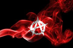 Anarchy smoke flag. On a black background Royalty Free Stock Image