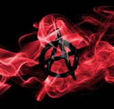 Anarchy smoke flag. Isolated on a black background Stock Photography