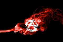 Anarchy smoke flag. Isolated on a black background Royalty Free Stock Photos
