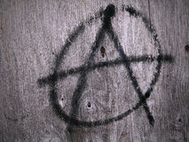 Anarchy Symbol. Spray Painted onto Wooden Surface Royalty Free Stock Images