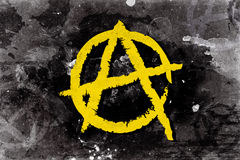 Anarchy symbol on a background. Illustration of yellow anarchy symbol on the grunge background Stock Illustration