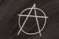 Anarchy symbol on a blackboard. Symbol for anarchy sketched with white chalk on a blackboard Royalty Free Stock Photo