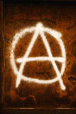 Anarchy symbol graffiti. Spray painted on grunge corroded metal wall Royalty Free Stock Photo