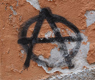 Anarchy. Symbol of Anarchy painted on an old grunge wall Royalty Free Stock Images