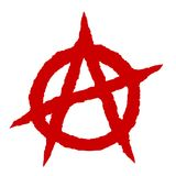 Anarchy symbol red. Punk music culture sign Royalty Free Stock Images