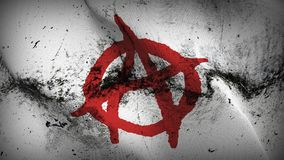 Anarchy Symbol red white grunge dirty flag waving on wind. Anarchy Symbol red on white background fullscreen grease flag blowing on wind. Realistic filth fabric Stock Photography