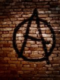 Anarchy symbol. Spray painted on a brick wall Royalty Free Stock Photos