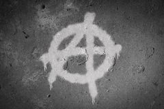 Anarchy symbol spray painted on the wall. Graffiti, sign, urban, grunge, texture, art, punk, background, anarchist, dirty, grungy, design, culture, graphic stock photography