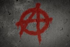 Anarchy symbol spray painted on the wall. Graffiti, sign, urban, grunge, texture, art, punk, background, anarchist, dirty, grungy, design, culture, graphic royalty free stock photography