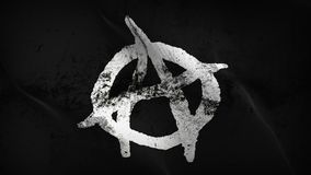 Anarchy Symbol white black grunge dirty flag waving on wind. Anarchy Symbol white on black background fullscreen grease flag blowing on wind. Realistic filth Royalty Free Stock Images