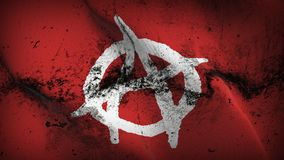 Anarchy Symbol white red grunge dirty flag waving on wind. Anarchy Symbol white on red background fullscreen grease flag blowing on wind. Realistic filth fabric Stock Images