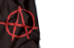 Anarchy wrinkled flag, space for text. Black flag of anarchy, anarchist wrinkled flag with space for text Stock Photos