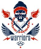 Anarqu?a y emblema o logotipo agresivo del caos con el cr?neo travieso, las armas y diversos elementos del dise?o, tatuaje del sc ilustración del vector