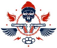 Anarqu?a y emblema o logotipo agresivo del caos con el cr?neo travieso, las armas y diversos elementos del dise?o, tatuaje del sc libre illustration
