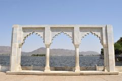 Anasagar lake with white marble gate, Ajmer Royalty Free Stock Image