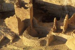 Anasazi印地安废墟的峭壁宫殿, Mesa Verde, CO 免版税图库摄影