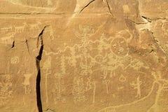 Anasazi时代刻在岩石上的文字盘区 库存图片
