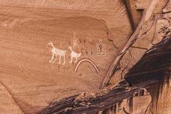 Anasazi petroglyphs. Old painted anasazi petroglyphs representing humans and animals, Canyon de Chelly, Arizona Stock Photography