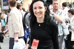 Anastasia Udaltsova, la esposa del líder de oposición ruso Sergei Udaltsov Imagen de archivo libre de regalías