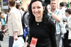Anastasia Udaltsova, the wife of the Russian opposition leader Sergei Udaltsov. MOSCOW, RUSSIA - may 6, 2012:  Anastasia Udaltsova, the wife of the Russian Royalty Free Stock Image