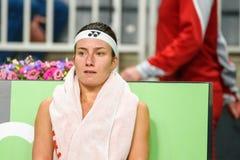 Anastasija Sevastova, durante juego redondo del grupo II del mundo el primer entre el equipo Letonia y el equipo Eslovaquia foto de archivo