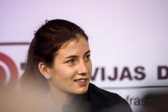Anastasija Sevastova en la reunión con medios y fans Riga, Latvia imagenes de archivo