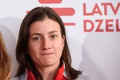Anastasija Sevastova, lag Lettland Medlemmar av Team Latvia för FedCup, under möte av fans för världsgrupp rund II först arkivfoto