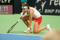 Anastasija Sevastova, pendant jeu rond du groupe II du monde le premier entre l'équipe Lettonie et l'équipe Slovaquie image stock