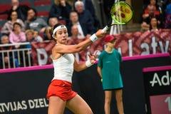 Anastasija Sevastova podczas świat grupy II Round Pierwszy gry między drużynowym Latvia Sistani i drużyną, obrazy stock