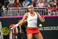 Anastasija Sevastova podczas świat grupy II Round Pierwszy gry między drużynowym Latvia Sistani i drużyną, obraz stock