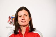 Anastasija Sevastova, team Letland Leden van Team Latvia voor FedCup, tijdens het ontmoeten van ventilators voor Wereldgroep II E stock fotografie
