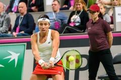 Anastasija Sevastova, under den första runda leken för världsgrupp II mellan laget Lettland och laget Slovakien arkivfoton